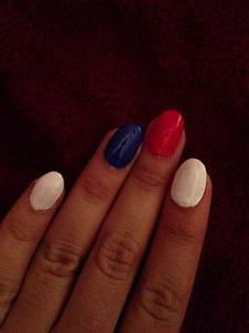 Oval red, white, and blue acrylic nails. | Blue acrylic ...