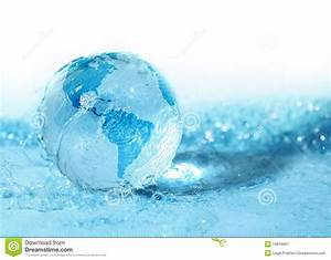 Glass Globe In Water Stock Image  Image Of Global  Drops