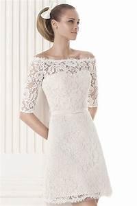 robe de mariee a manche courte en dentelle epaule denudee With persun robe de mariée