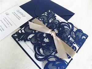 vintage navy blue lace laser cut wedding invitation suite With laser cut wedding invitations with inserts