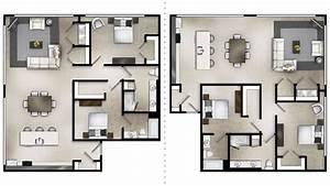 Corner, Loft, Two, Bedroom, Floor, Plan