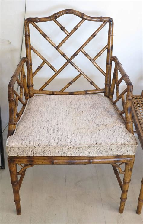Two Chinese Chippendale Faux Bamboo Arm Chairs 1980s At