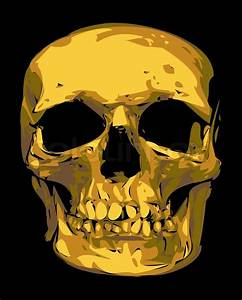 Golden Human Skull Isolated On The Black Background