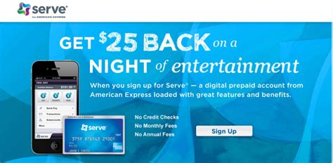 amex serve card 25 credit and free credit card spendthe