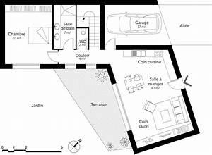 plan maison en v contemporaine 120 m2 ooreka With plan maison en v avec etage