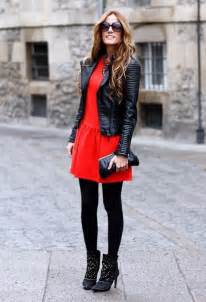 Red Leather Jacket with Black Dress