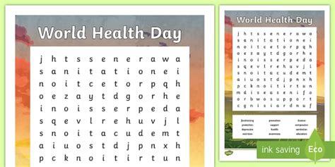 *new* Ks2 World Health Day Word Search