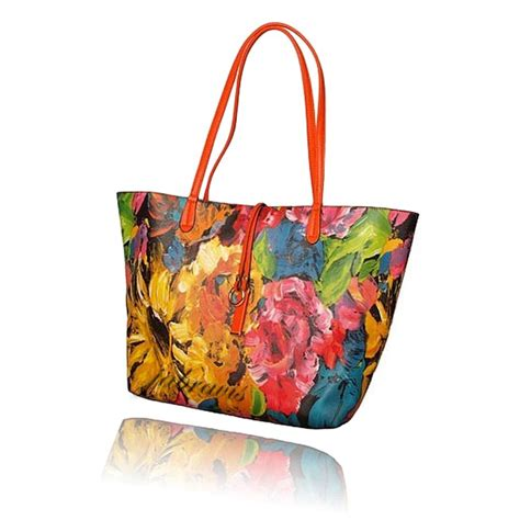 imoshion floral saffiano texture giada  pc reversible    vegan tote bag