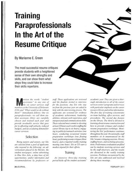 Resume Critique by Resume Critique Article