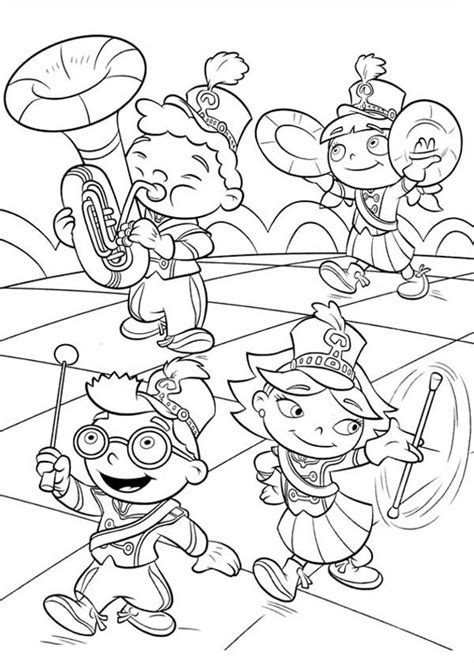 einstein marching band coloring page coloring sky