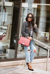 chanel inspired tweed jacket and destroyed style