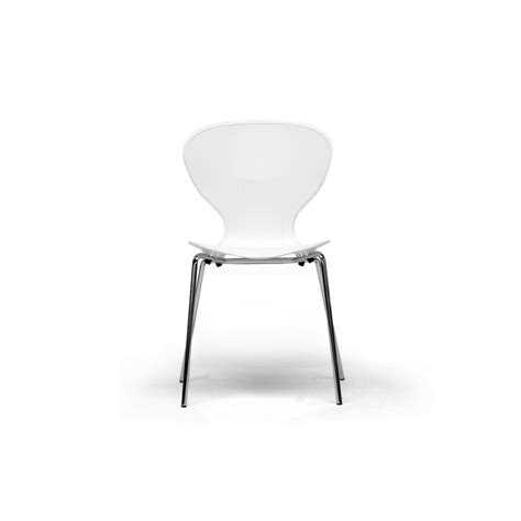 boujan white plastic modern dining chair see white