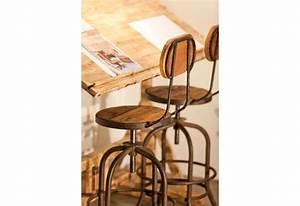 Chaise De Bar Metal : tabouret de bar avec dossier industriel en bois et m tal r glable v ~ Teatrodelosmanantiales.com Idées de Décoration