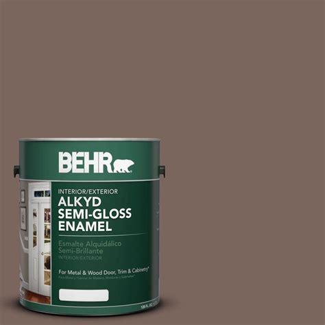 behr 1 gal ae 5 chocolate brown semi gloss enamel alkyd