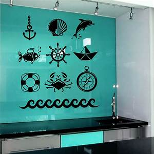 wall decal anchor sea wheel fish decals art bathroom decor With wall murals decals