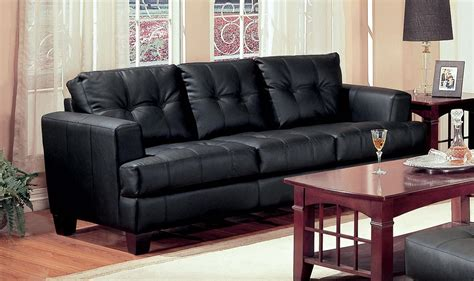samuel black leather living room set   coaster