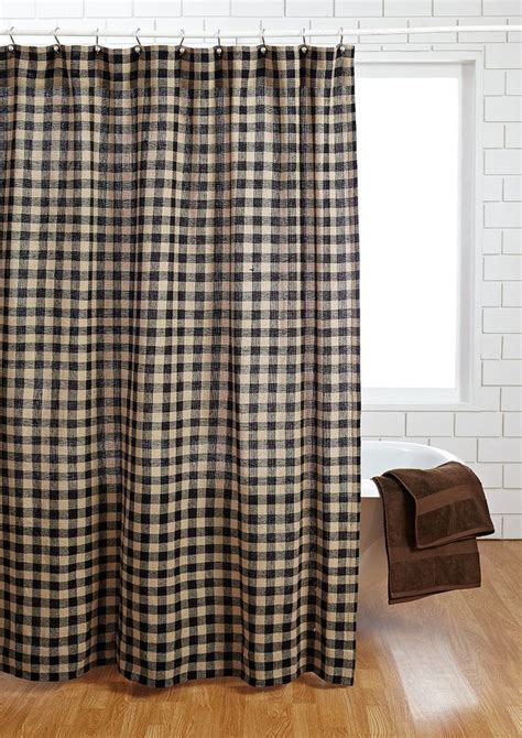 image black and check shower curtain