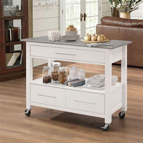 ottawa kitchen cart stainless steelwhite acme furniture