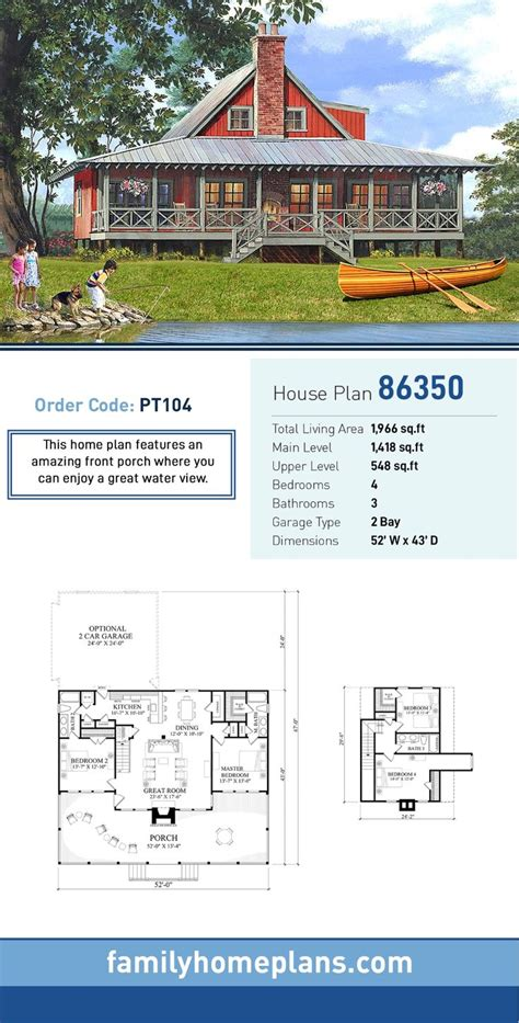 Traditional Style House Plan 86350 with 4 Bed 3 Bath 2