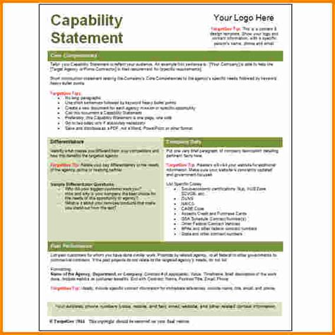 resume capability statement exles 10 capability statement template word cashier resume