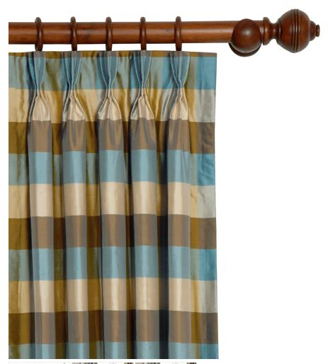 Silk Pinch Pleat Drapes - pinch pleated silk drapes on decorative wood rod give a