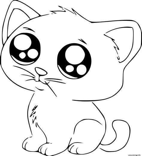 Coloriage Chat Manga Cute Mignon Dessin