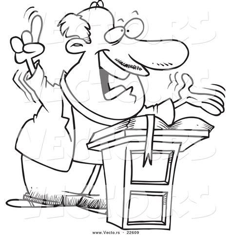 vector   cartoon preaching pastor coloring page