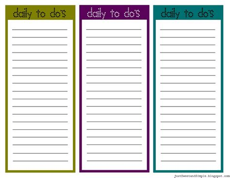 Diy To Do List Template by Just Sweet And Simple Printable Daily To Do List S
