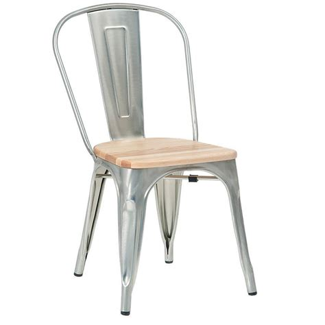 bistro style metal chair in silver finish and wood