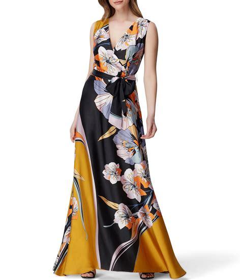 tahari asl floral print  neck tie waist charmeuse maxi