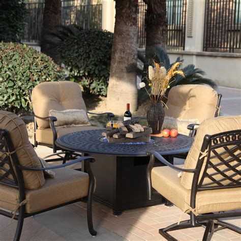 Patio Furniture Conversation Sets With Pit by Darlee Sedona 5 Cast Aluminum Patio Pit