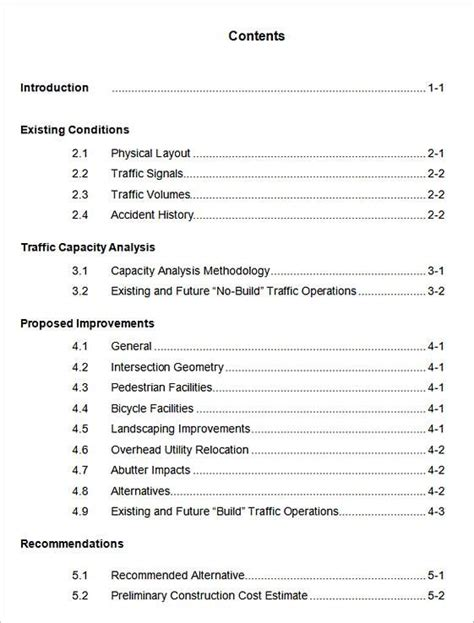 table  contents template table  contents template  word document essay outline