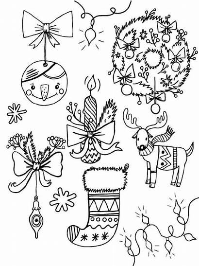 Coloring Christmas Decorations Pages Ornament Printable Pdf