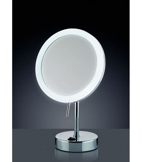 miroir grossissant x 5 lumineux led rond sur pied orientable wadiga