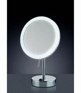 Miroir Rond Led : miroir grossissant x 5 lumineux led rond sur pied ~ Teatrodelosmanantiales.com Idées de Décoration