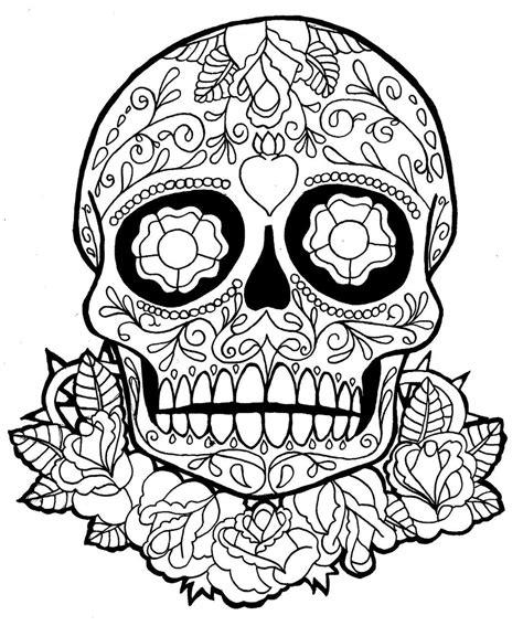 Skull Coloring Pages For Teen Sugar Skull Dia De Los