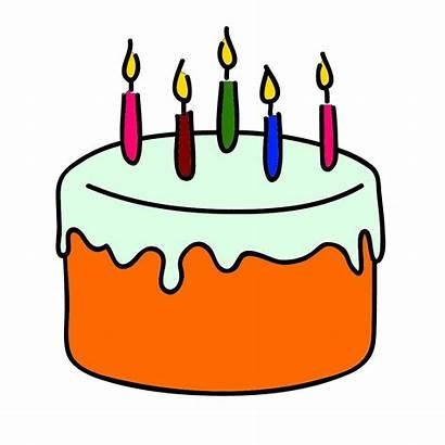 Cake Birthday Clip Clipart Cakes Orange Candles