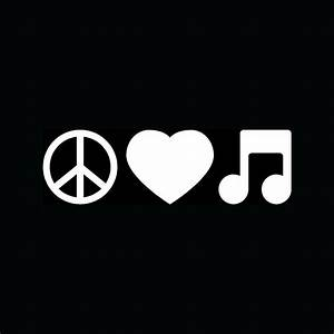 PEACE LOVE MUSIC Note Sticker Car Truck Window Vinyl Decal