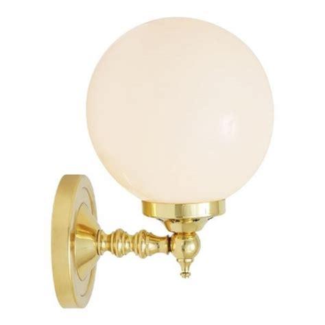 opal glass globe wall light on gold fitting classic art