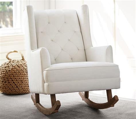 pottery barn nursery chair modern tufted wingback convertible rocker ottoman