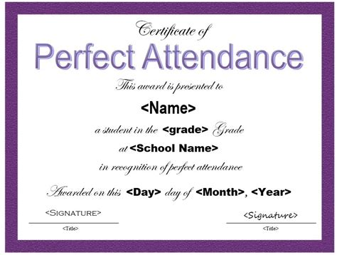 perfect attendance certificate  printable samples