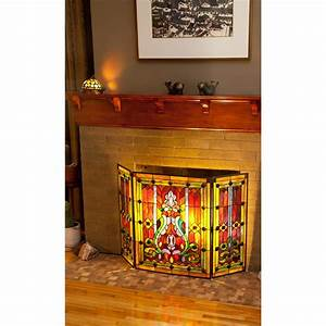 River, Of, Goods, Stained, Glass, Fleur, De, Lis, 3-panel, Decorative, Fireplace, Screen-8221