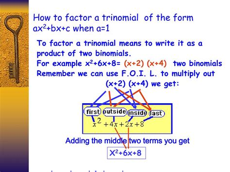 Ppt  Factoring Trinomials Of The Form Ax 2 +bx+c With A =1 Powerpoint Presentation Id200995