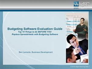 Budgeting Software Evaluation Guide