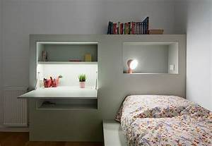 This, Small, Kids, Bedroom, Combines, The, Bed, Frame, A, Desk, And, Shelves, To, Save, Space