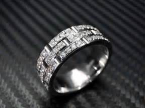 crafted 14k white gold mens diamond wedding band