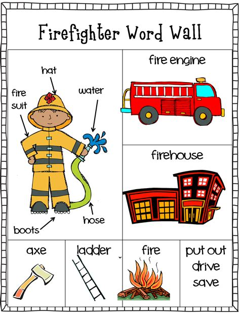free firefighter writing center word wall and stationary 768   76278a2ae479198ffb32a950b62df755