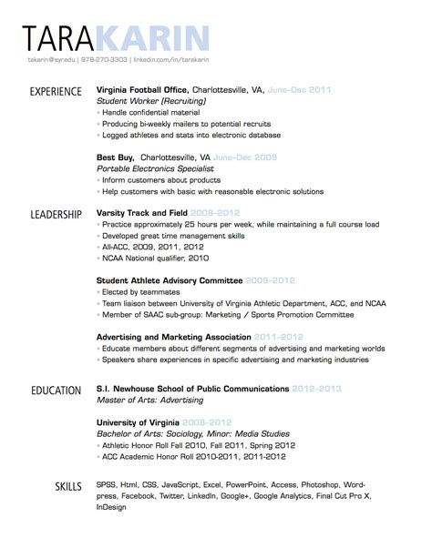 Resume Header Template by Simple Clean Resume Design With Clear Section Headings