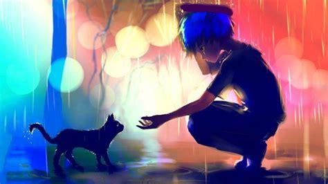 Artwork Rain Cat Apofiss Blue Hair Bokeh Anime