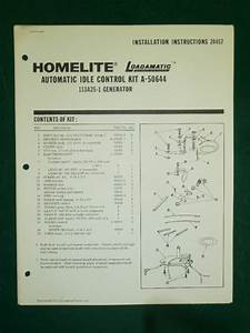 Homelite Generator Idle Control Parts Manual